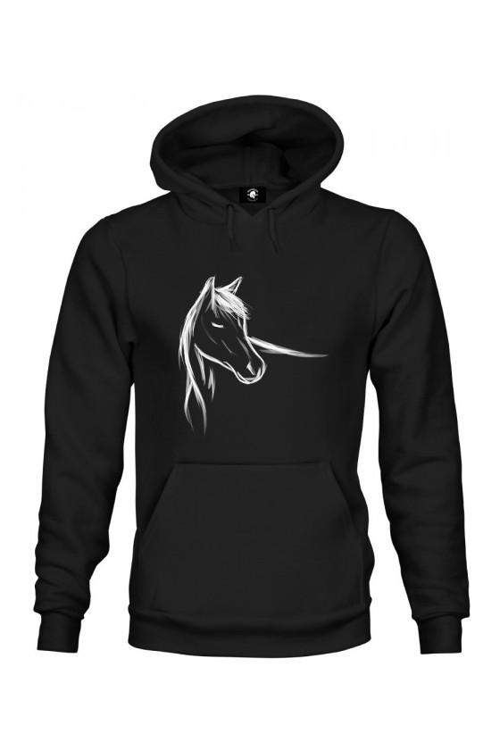 Bluza z kapturem z ręcznie malowanym koniem