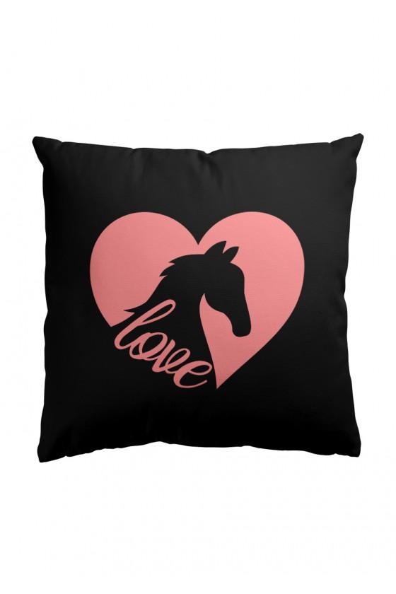 Poduszka Premium z Nadrukiem Serca Love (czarna)