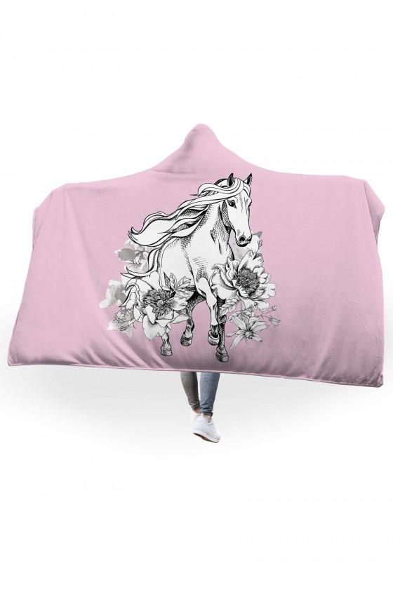 Koc pluszowy z kapturem Wspaniały koń