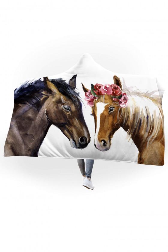 Koc pluszowy z kapturem Konie