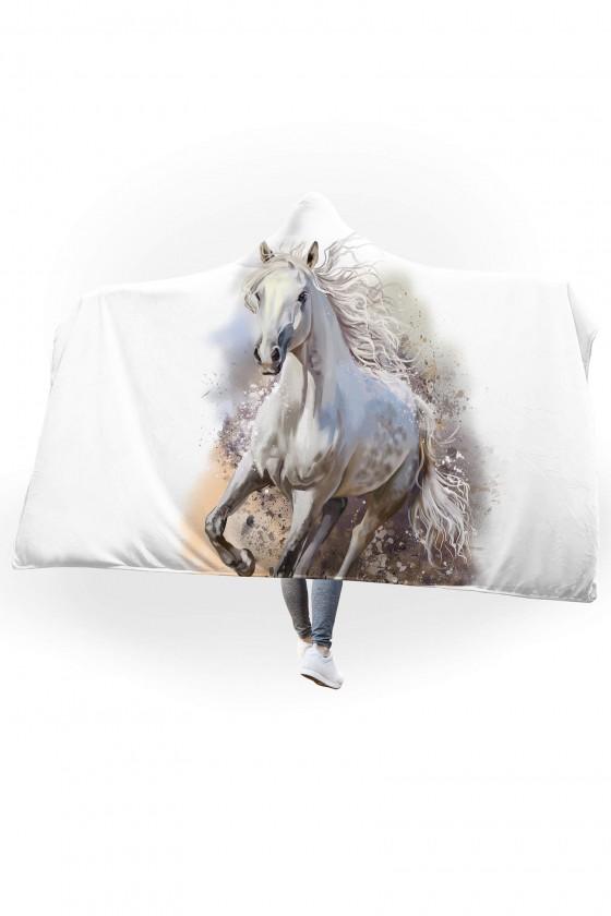 Koc pluszowy z kapturem Galopujący koń