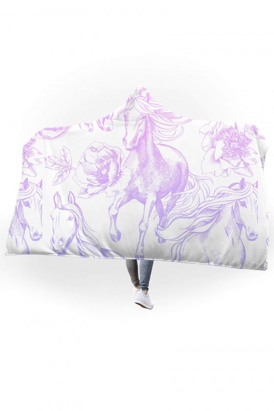 Koc pluszowy z kapturem Pastelowe konie