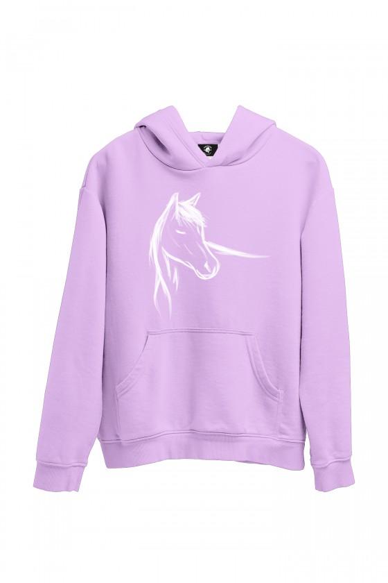 Bluza liliowa z ręcznie malowanym koniem