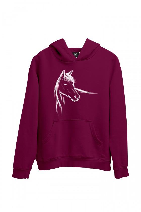 Bluza burgundowa z ręcznie malowanym koniem