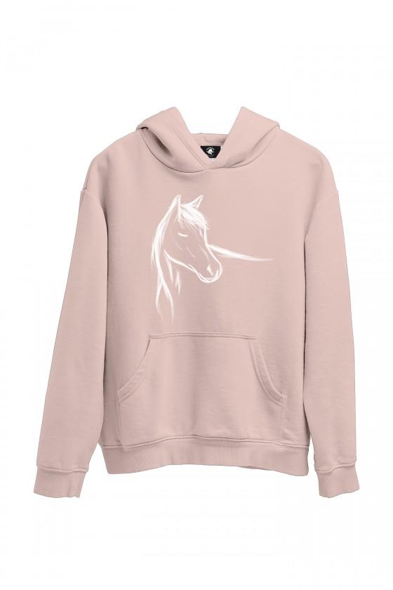 Bluza nude z ręcznie malowanym koniem