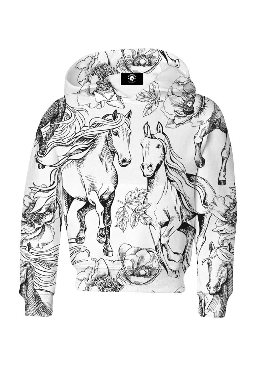 Bluza dziecięca bawełniana Czarnobiałe konie