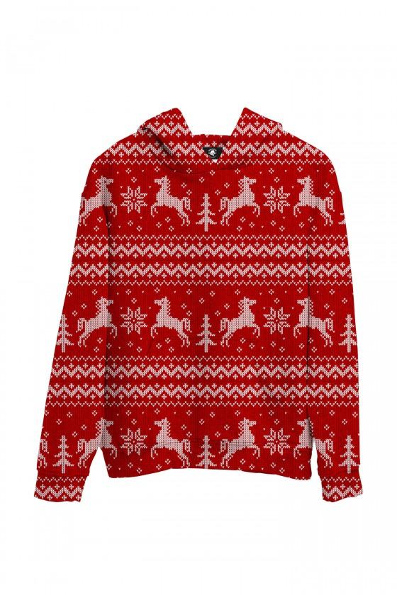 Bluza bawełniana Sweter świąteczny w konie