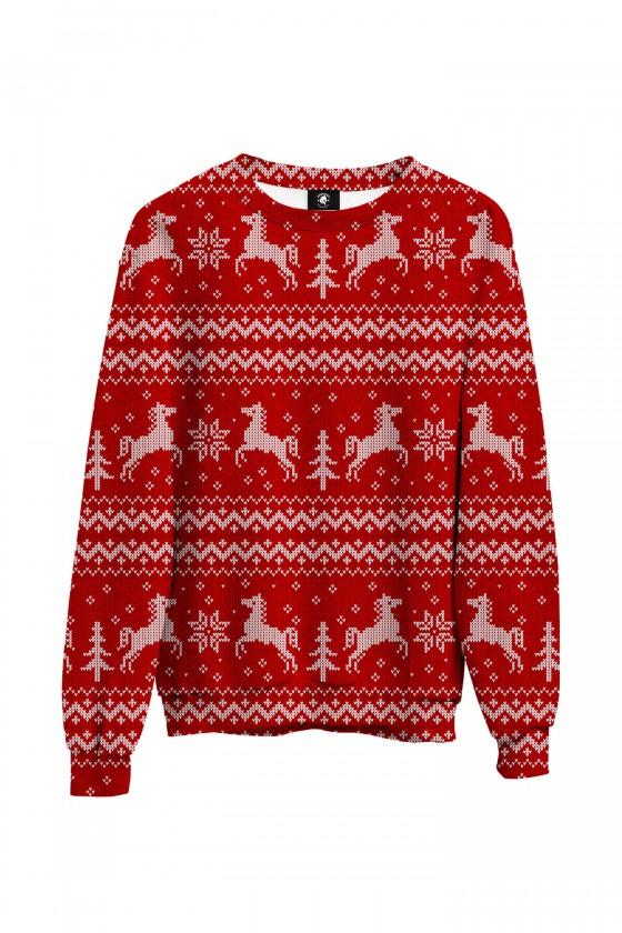 Bluza bawełniana klasyczna Sweter świąteczny w konie