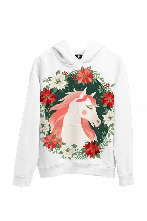 Bluza bawełniana Biały koń w kwiatach