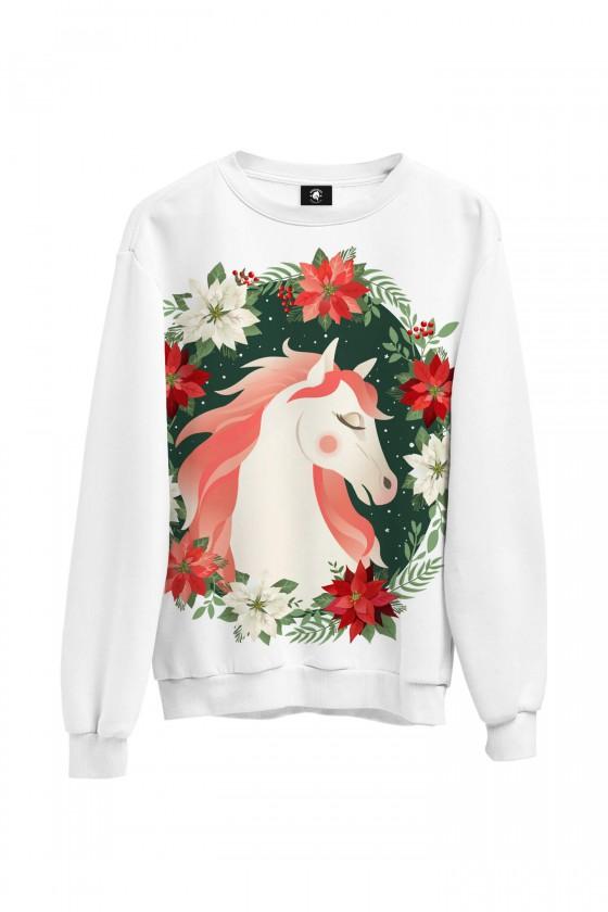 Bluza bawełniana klasyczna Biały koń w kwiatach
