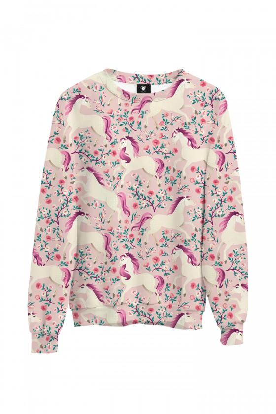 Bluza bawełniana klasyczna Różowe konie