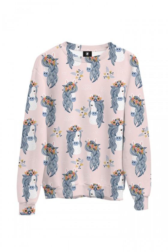 Bluza bawełniana klasyczna Konie w wiankach