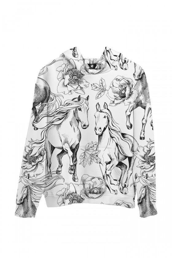 Bluza bawełniana Czarno-białe konie