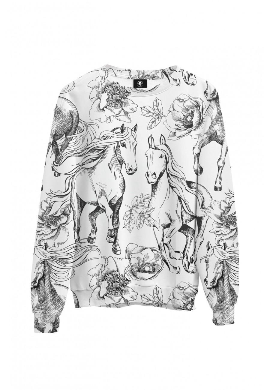 Bluza bawełniana klasyczna Czarno-białe konie
