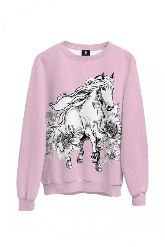 Bluza bawełniana klasyczna Koń galopujący w kwiatach