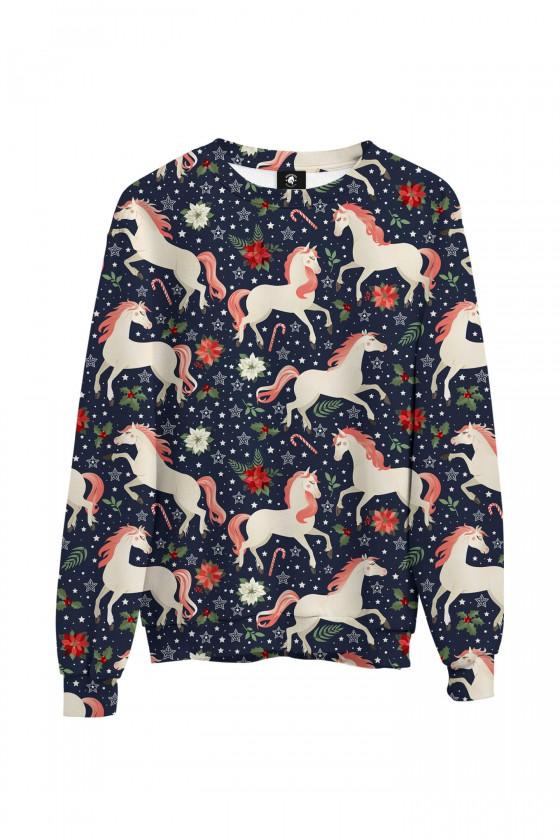 Bluza bawełniana klasyczna Konie z różową grzywą