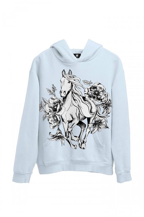 Bluza bawełniana Koń i kwiaty vintage