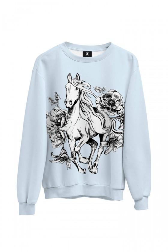 Bluza bawełniana klasyczna Koń i kwiaty vintage