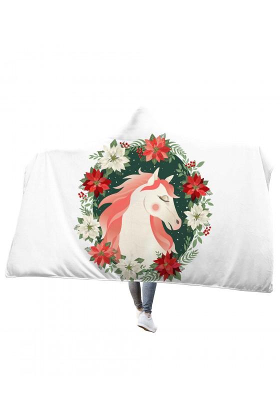 Koc pluszowy z kapturem Koń w wianku z kwiatów