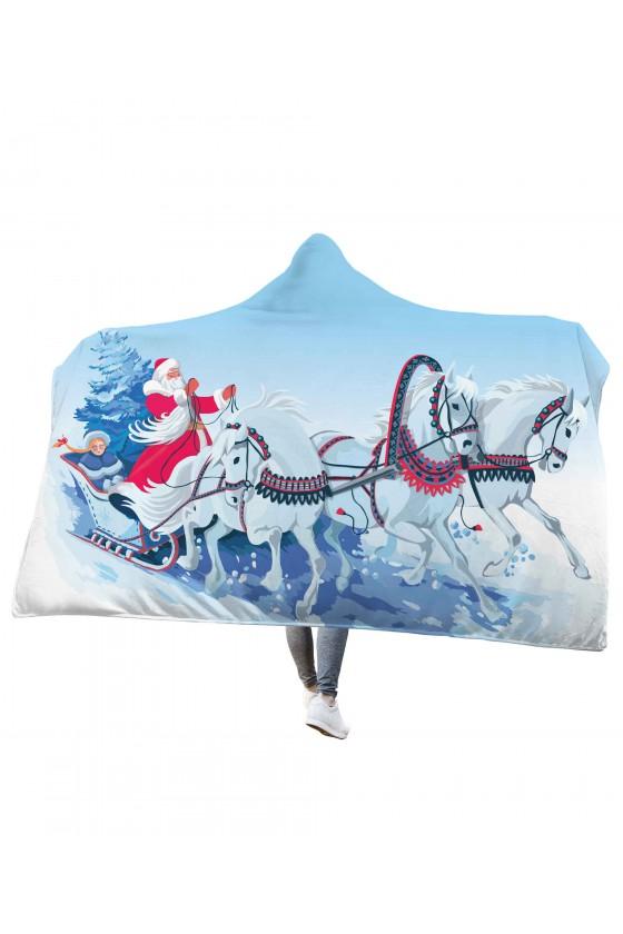 Koc pluszowy z kapturem Konie ciągnące sanie Mikołaja