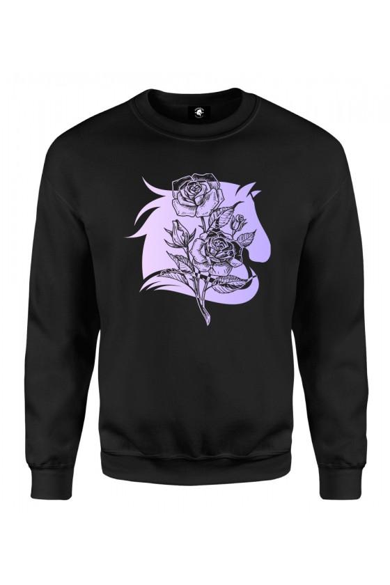 Bluza klasyczna Koń z różą - fioletowy