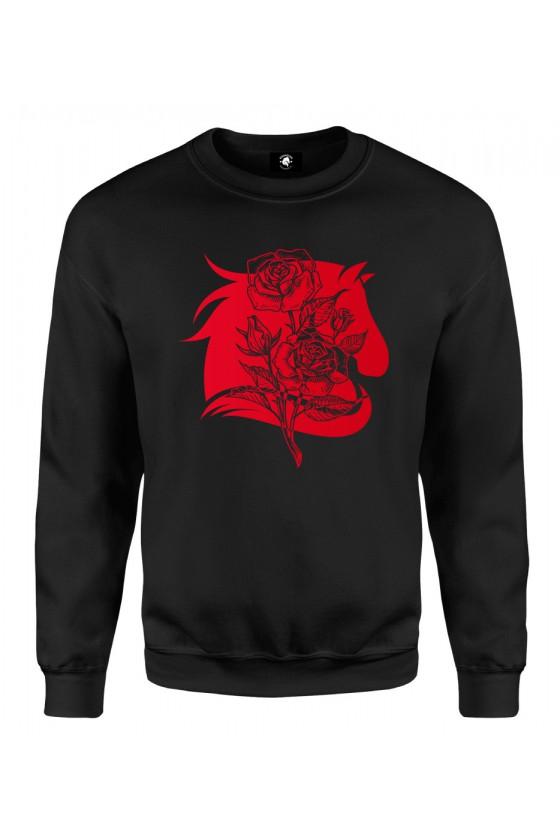 Bluza klasyczna Koń z różą - czerwony