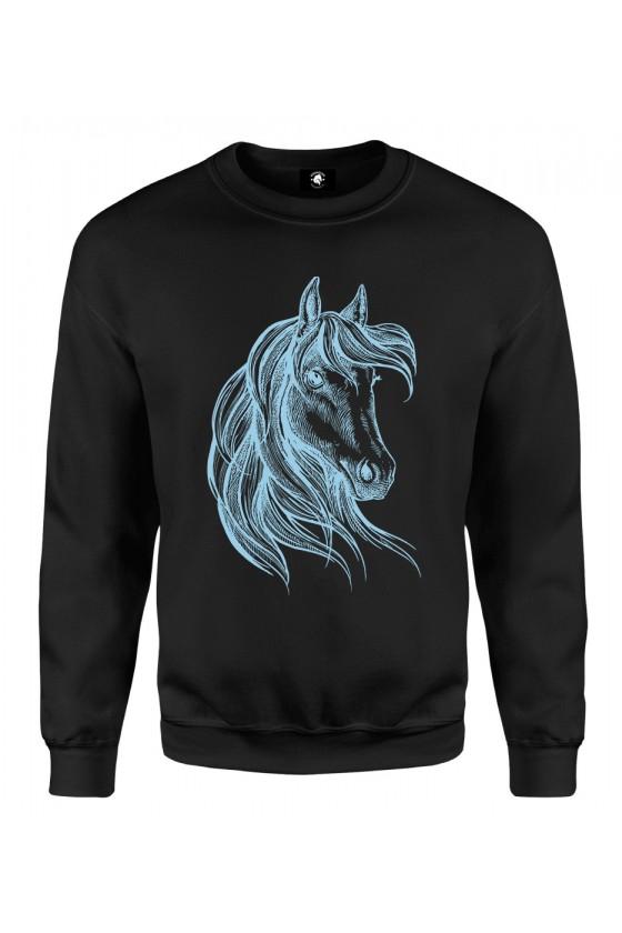 Bluza klasyczna Rysunek Konia - niebieski
