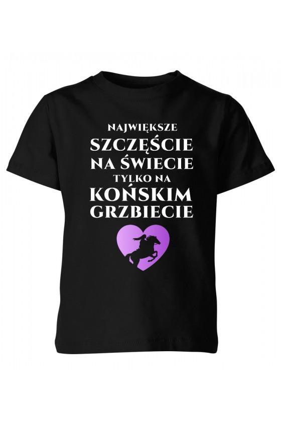Koszulka dziecięca Największe szczęście na świecie na końskim grzbiecie