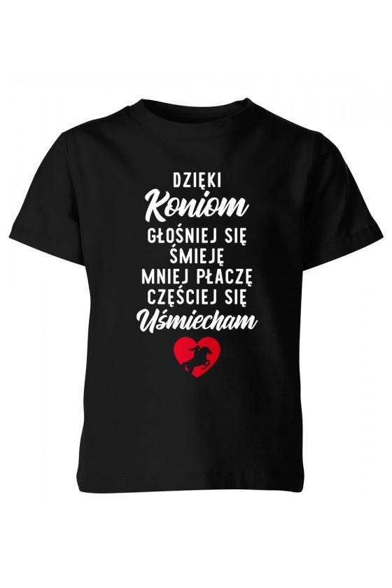 Koszulka dziecięca Dzięki koniom głośniej się śmieję